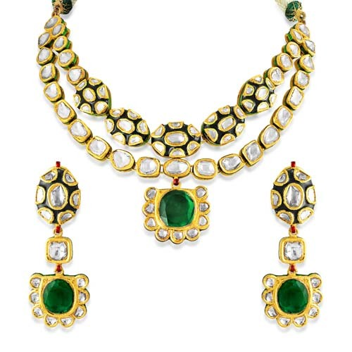 Jadau Necklace set with 13.05cts. Diamonds and Synthetic Stones