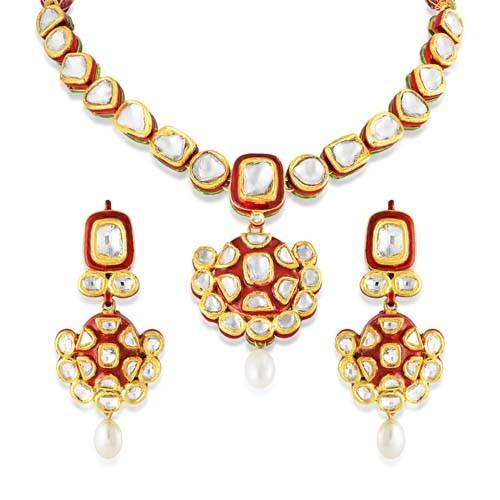 1ct. semi precious gem necklace set with diamond in jadau necklace