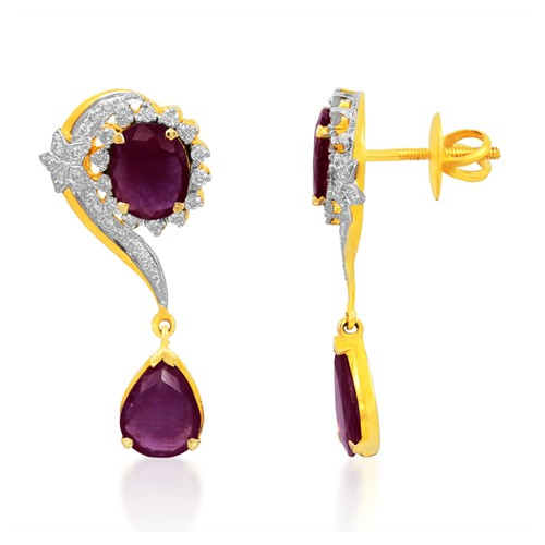 6.32ct. ruby earrings set with diamond in designer earrings