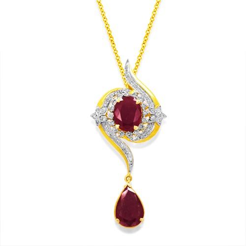 2ct. ruby pendant set with diamond in designer pendant