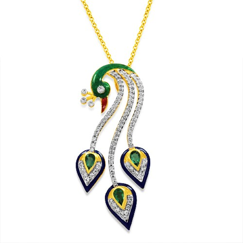 0.61ct. emerald pendant set with diamond in peacock pendant