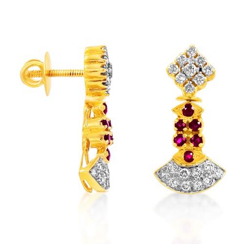 0.45ct. ruby earrings set with diamond in designer earrings