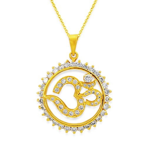 Om diamond religious pendant 112ct in 18kt gold j2879 112ct diamond pendant set with diamond in religious pendant mozeypictures Image collections