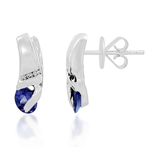 0.58ct. sapphire earrings set with diamond in casual earrings