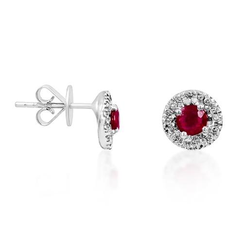 0.75ct. ruby earrings set with diamond in casual earrings