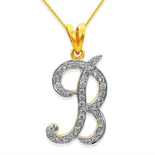 0.34ct. diamond pendant set with diamond in alphabate pendant