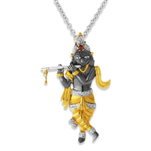 Buy lord krishna pendant online janmastami special jewellery 003ct ruby pendant set with diamond in religious pendant aloadofball Image collections