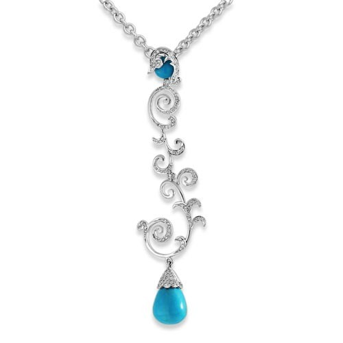 12.6ct. turquoise pendant set with diamond in designer pendant
