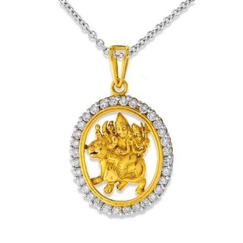 Maa durga diamond religious pendant in 18kt gold 123ct diamond pendant set with diamond in religious pendant mozeypictures Image collections