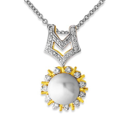 3.2ct. pearl pendant set with diamond in fancy pendant