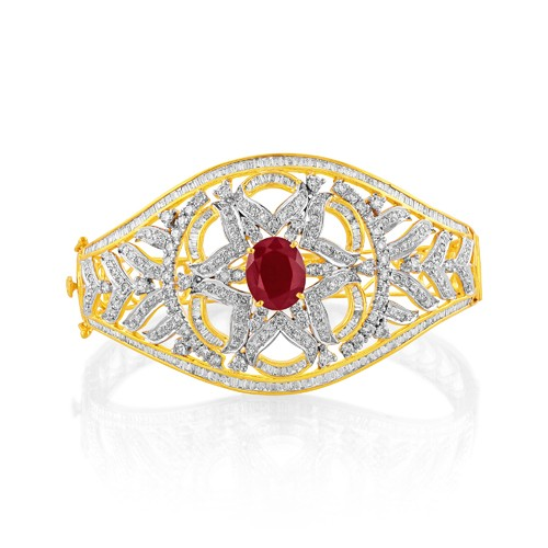 5.67ct. simulated ruby bracelet set with diamond in fancy bracelet