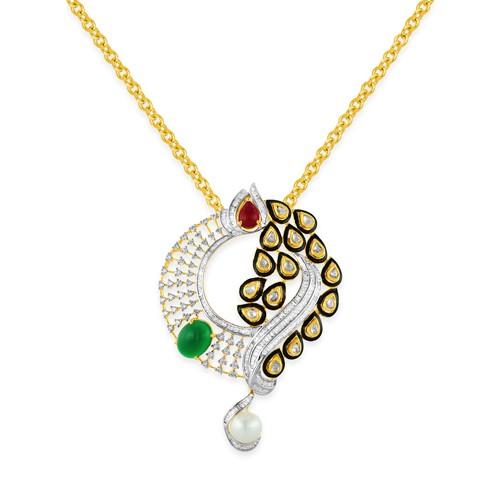 15.93ct. onyx pendant set with diamond in fusion pendant