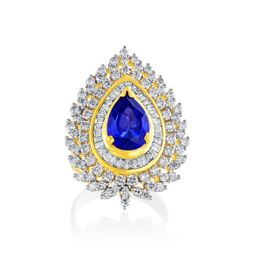 3.89ct. hydro ring set with diamond in fancy ring