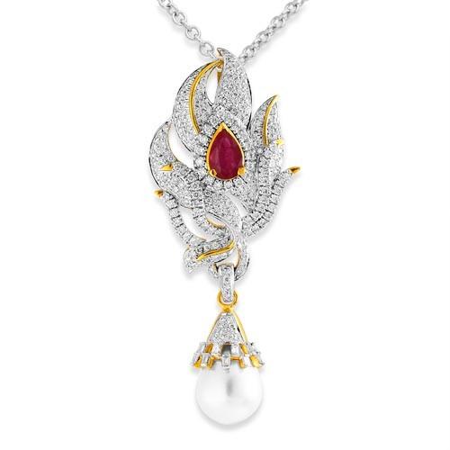 16.93ct. simulated ruby pendant set with diamond in designer pendant