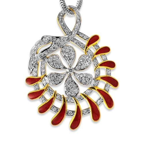1.38ct. diamond pendant set with diamond in designer pendant