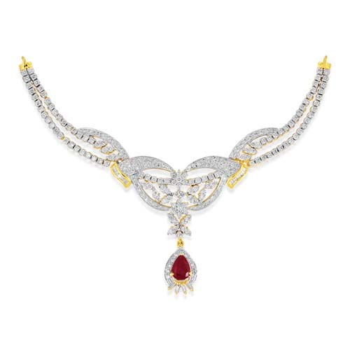 Simulated Ruby Necklace 1 585ct In 18kt Gold M5296