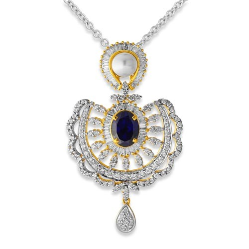 5.23ct. simulated sapphire pendant set with diamond in designer pendant