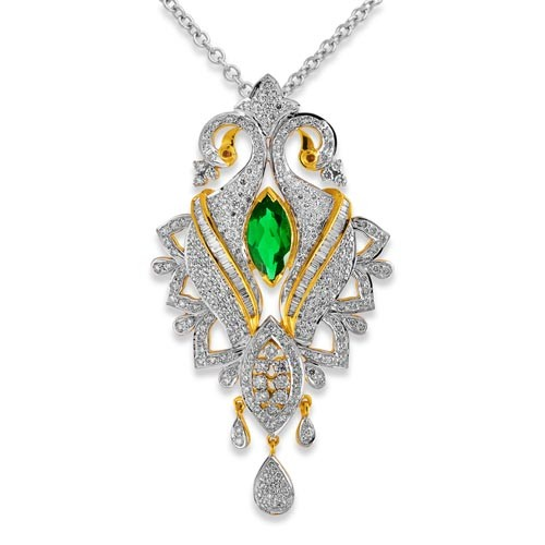 1.98ct. ruby pendant set with diamond in designer pendant