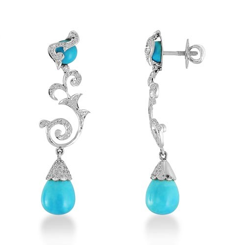 20 18ct Turquoise Earrings Set With Diamond In Designer