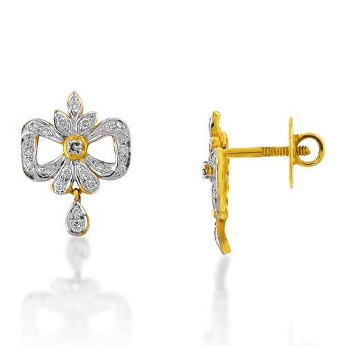 0.41ct. diamond earrings set with diamond in drop earrings