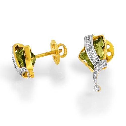 6ct. smoky quartz earrings set with diamond in fancy earrings