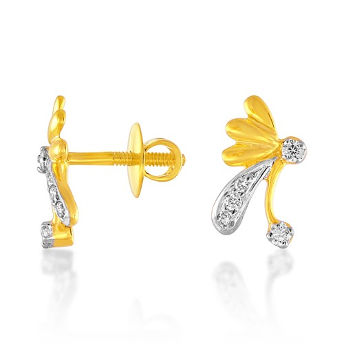0.14ct. diamond earrings set with diamond in fancy earrings