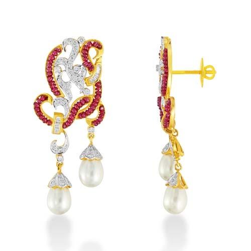 19.4ct. ruby earrings set with diamond in designer earrings