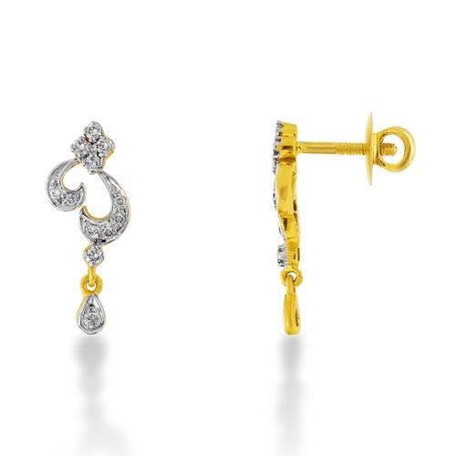 0.35ct. diamond earrings set with diamond in drop earrings