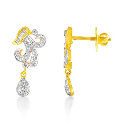 0.43ct. diamond earrings set with diamond in drop earrings