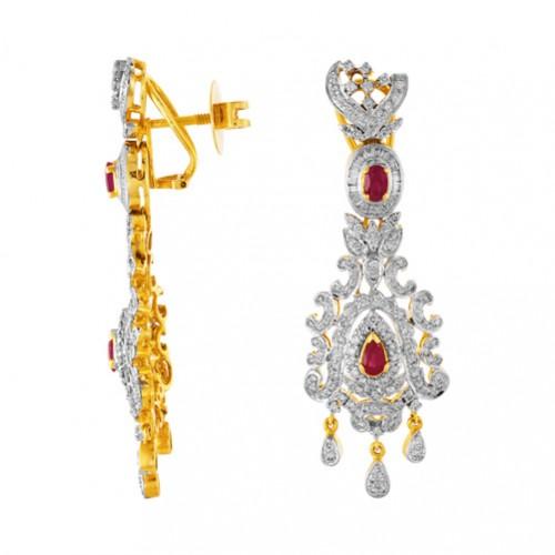 1.37ct. onyx earrings set with diamond in designer earrings
