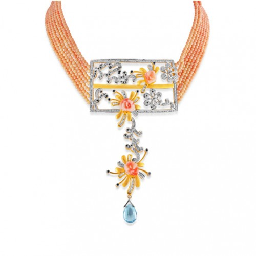 20.67ct. coral necklace set with diamond in designer necklace