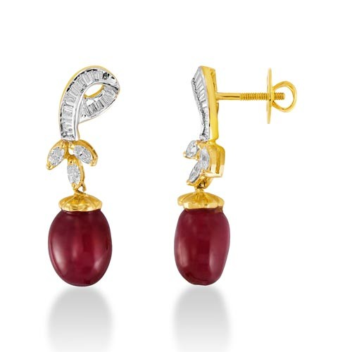15ct. ruby earrings set with diamond in designer earrings