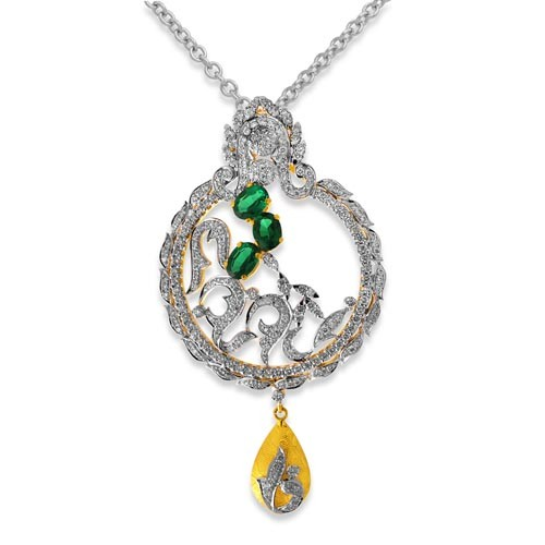 1.8ct. simulated emerald pendant set with diamond in designer pendant