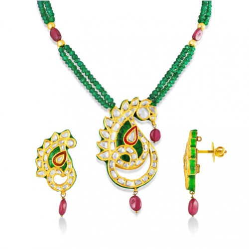 Jadau Pendant set with 6.1cts. Diamonds and Synthetic Stones