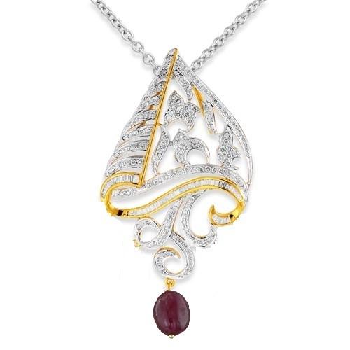 5.66ct. tourmaline pendant set with diamond in designer pendant