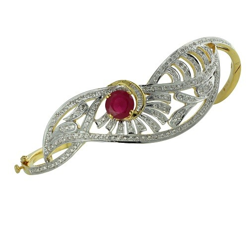 1.7ct. simulated ruby bracelet set with diamond in fancy bracelet
