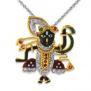 0.12ct. ruby pendant set with diamond in religious pendant