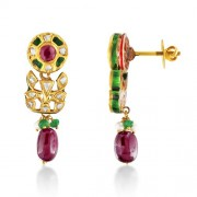 Jadau Earrings set with 0.6cts. Diamonds and Pearl