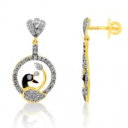 0.8ct. diamond earrings set with diamond in peacock earrings