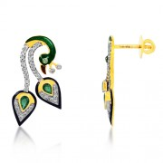 0.54ct. emerald earrings set with diamond in peacock earrings