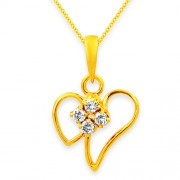 0.13ct. diamond pendant set with diamond in heart pendant