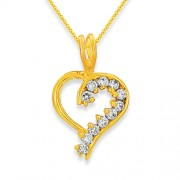 0.4ct. diamond pendant set with diamond in heart pendant