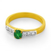 0.24ct. emerald ring set with diamond in eternity ring