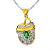 0.36ct. emerald pendant set with diamond in traditional pendant