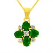 0.69ct. emerald pendant set with diamond in fancy pendant