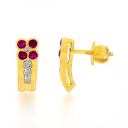 0.52ct. ruby earrings set with diamond in fancy earrings