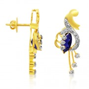 2ct. iolite earrings set with diamond in fancy earrings