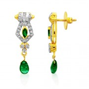 0.89ct. emerald earrings set with diamond in fancy earrings