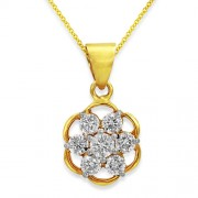 0.61ct. diamond pendant set with diamond in cluster pendant