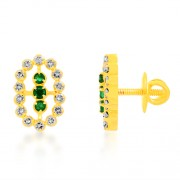 0.4ct. emerald earrings set with diamond in fancy earrings